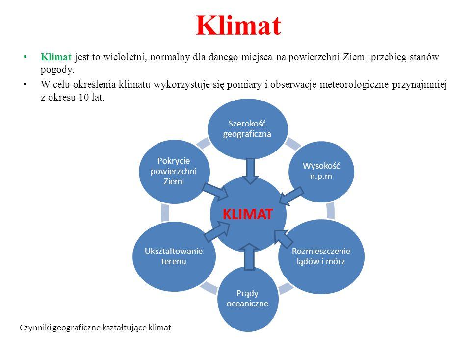 Klimat Klimat jest to wieloletni, normalny dla danego miejsca na powierzchni Ziemi przebieg stanów pogody. W celu określenia klimatu wykorzystuje się