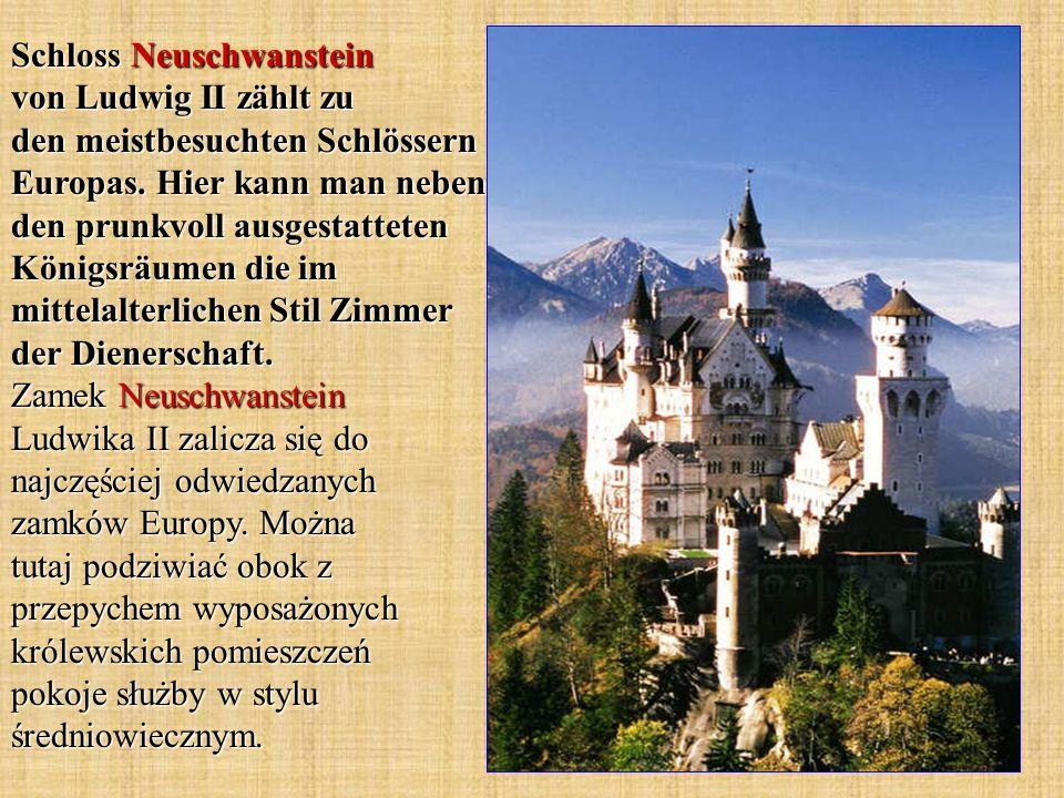 Schloss Neuschwanstein von Ludwig II zählt zu den meistbesuchten Schlössern Europas. Hier kann man neben den prunkvoll ausgestatteten Königsräumen die
