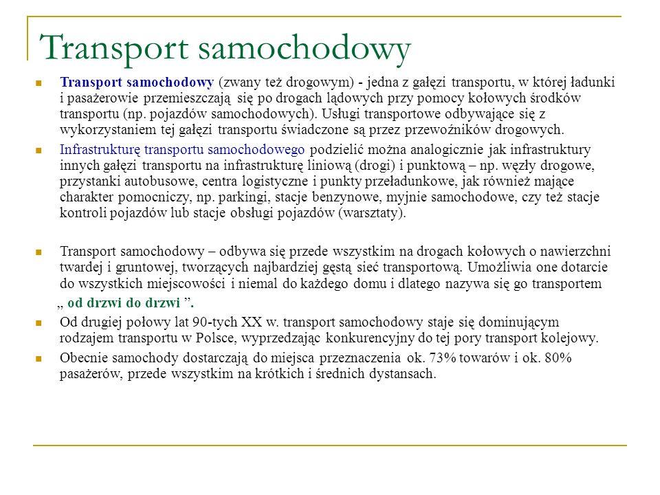 Transport samochodowy Transport samochodowy (zwany też drogowym) - jedna z gałęzi transportu, w której ładunki i pasażerowie przemieszczają się po dro