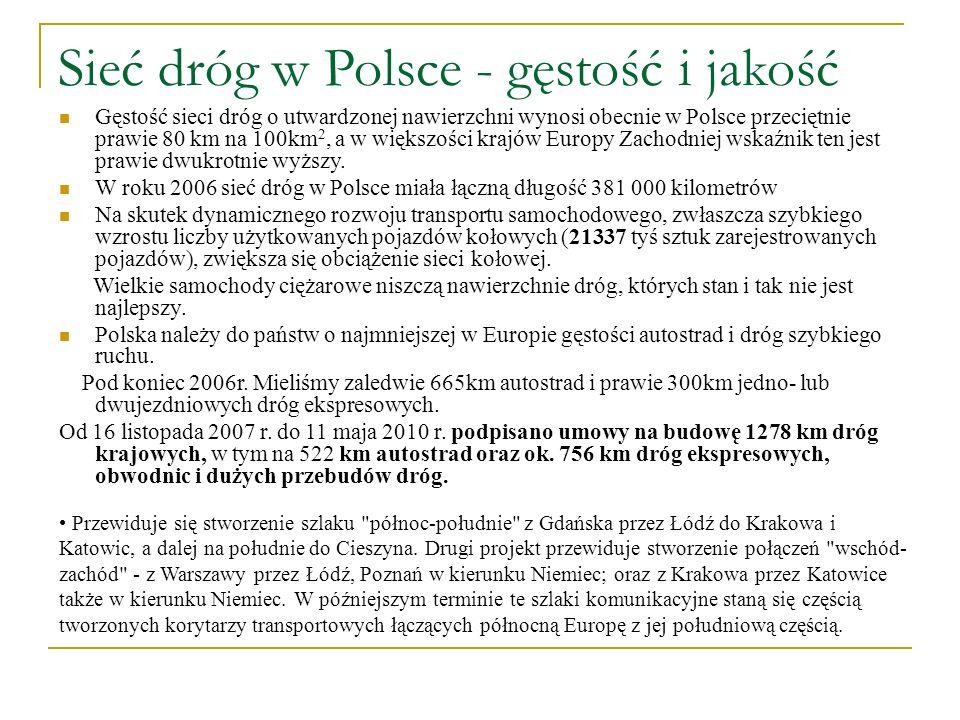 Sieć dróg w Polsce - gęstość i jakość Gęstość sieci dróg o utwardzonej nawierzchni wynosi obecnie w Polsce przeciętnie prawie 80 km na 100km 2, a w wi