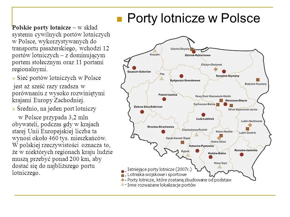Porty lotnicze w Polsce Polskie porty lotnicze – w skład systemu cywilnych portów lotniczych w Polsce, wykorzystywanych do transportu pasażerskiego, w