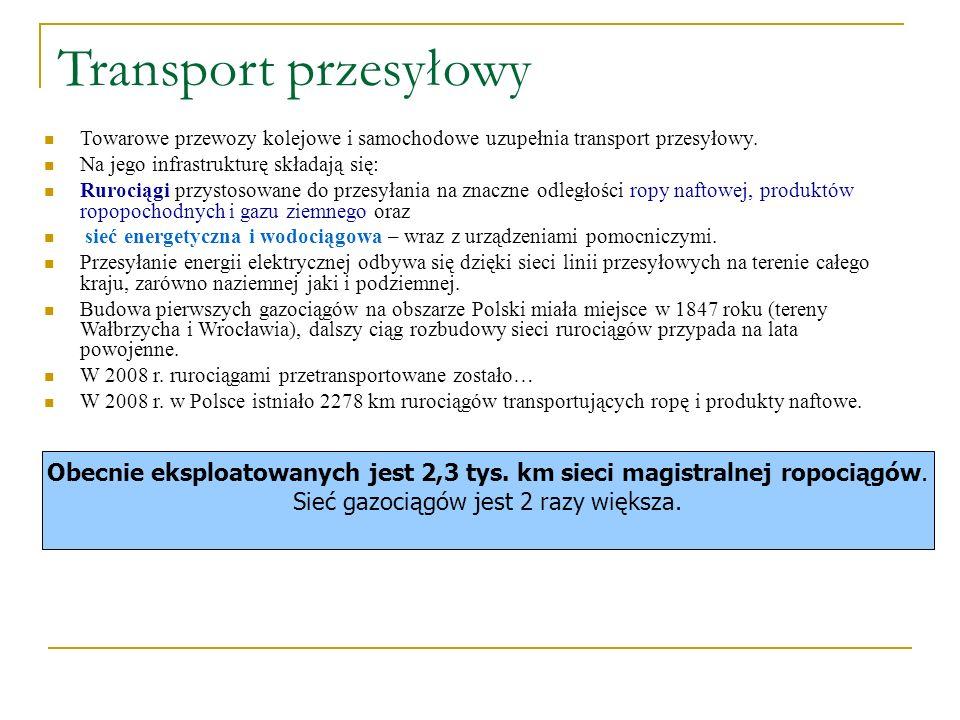 Transport przesyłowy Towarowe przewozy kolejowe i samochodowe uzupełnia transport przesyłowy. Na jego infrastrukturę składają się: Rurociągi przystoso