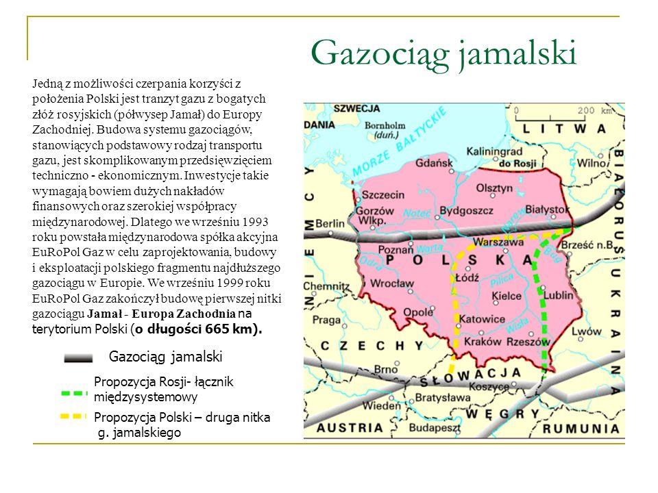 Gazociąg jamalski Propozycja Rosji- łącznik międzysystemowy Propozycja Polski – druga nitka g. jamalskiego Jedną z możliwości czerpania korzyści z poł