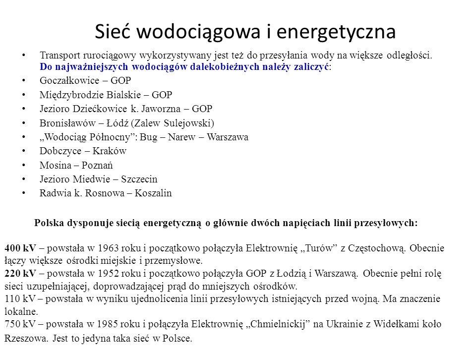 Sieć wodociągowa i energetyczna Transport rurociągowy wykorzystywany jest też do przesyłania wody na większe odległości. Do najważniejszych wodociągów
