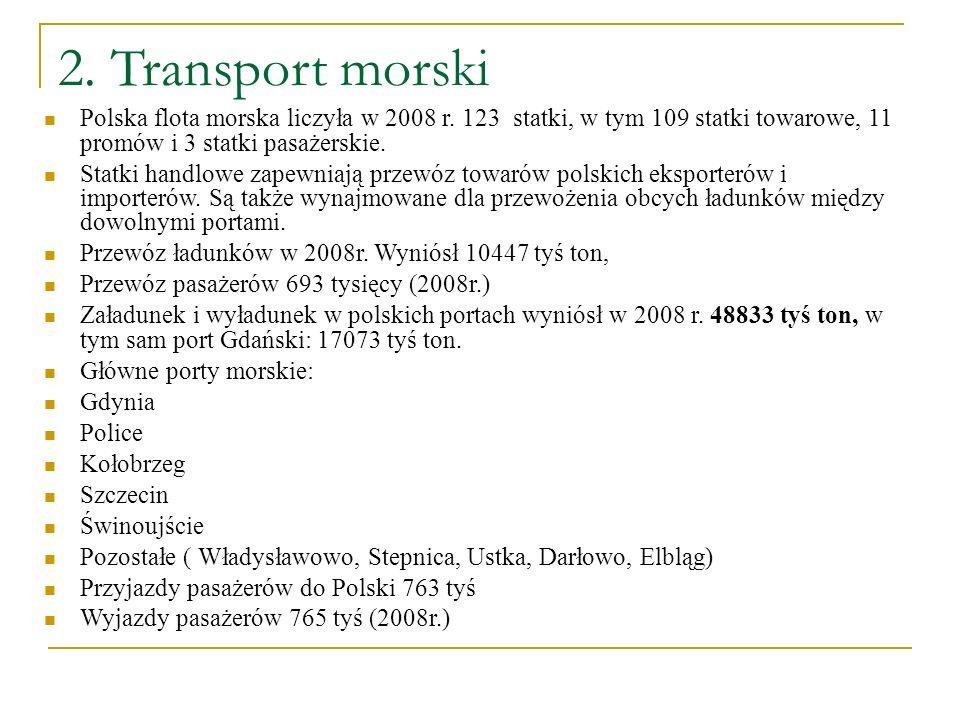 2. Transport morski Polska flota morska liczyła w 2008 r. 123 statki, w tym 109 statki towarowe, 11 promów i 3 statki pasażerskie. Statki handlowe zap