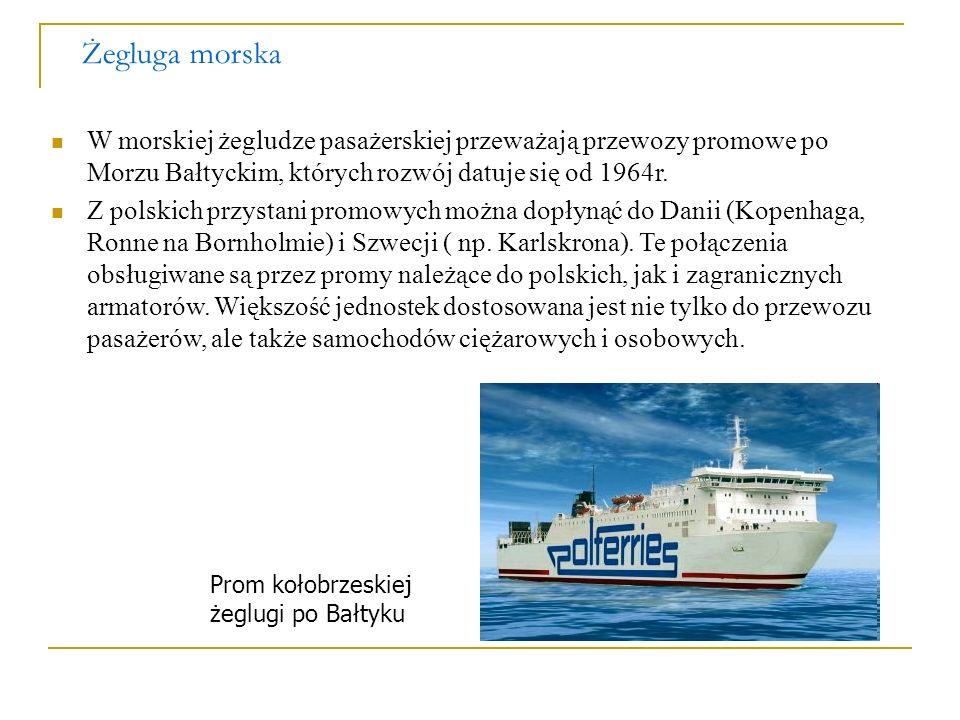 Żegluga morska W morskiej żegludze pasażerskiej przeważają przewozy promowe po Morzu Bałtyckim, których rozwój datuje się od 1964r. Z polskich przysta