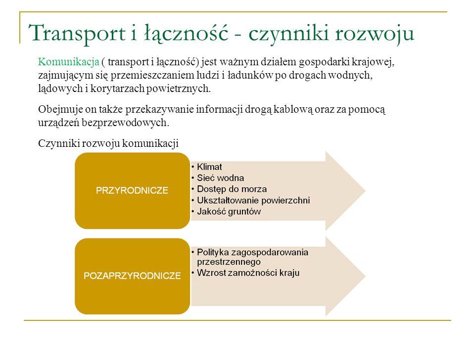 Transport i łączność - czynniki rozwoju Komunikacja ( transport i łączność) jest ważnym działem gospodarki krajowej, zajmującym się przemieszczaniem l