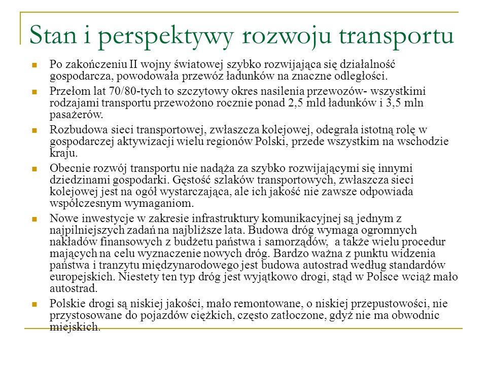 Stan i perspektywy rozwoju transportu Po zakończeniu II wojny światowej szybko rozwijająca się działalność gospodarcza, powodowała przewóz ładunków na