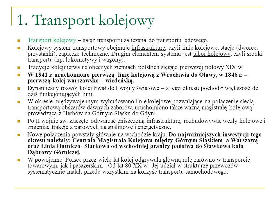 1. Transport kolejowy Transport kolejowy – gałąź transportu zaliczana do transportu lądowego. Kolejowy system transportowy obejmuje infrastrukturę, cz