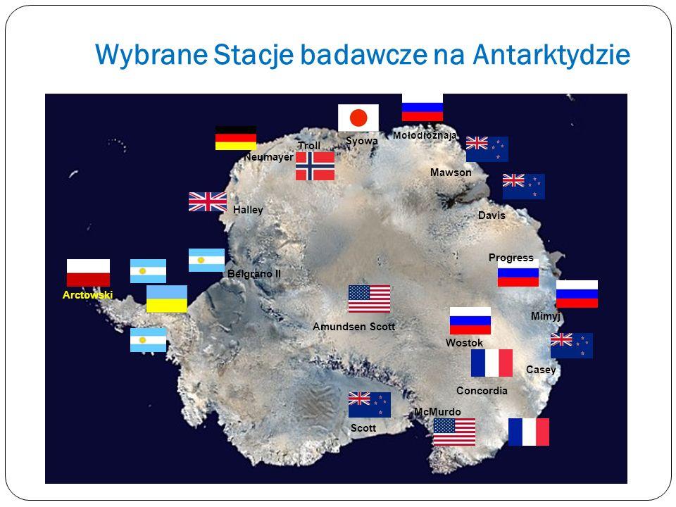 Wybrane Stacje badawcze na Antarktydzie McMurdo Casey Mimyj Scott Amundsen Scott Syowa Mołodiożnaja Mawson Davis Neumayer Troll Halley Belgrano II Arc
