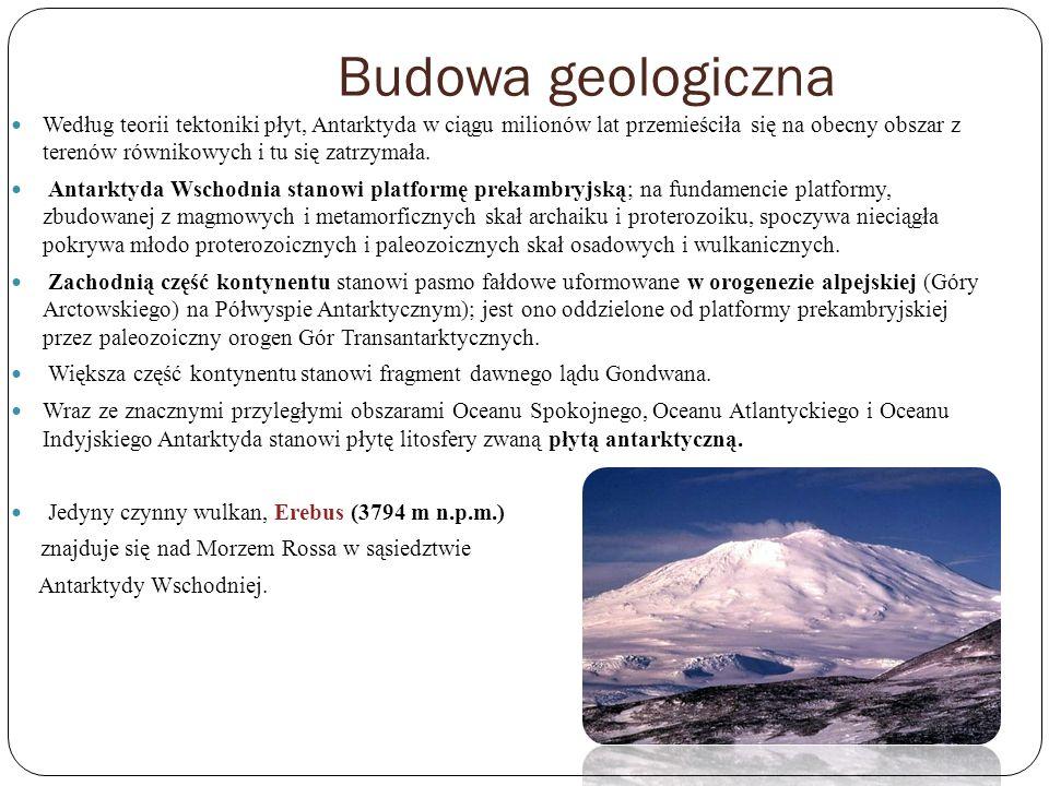 Budowa geologiczna Według teorii tektoniki płyt, Antarktyda w ciągu milionów lat przemieściła się na obecny obszar z terenów równikowych i tu się zatr