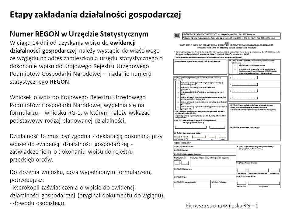Etapy zakładania działalności gospodarczej Numer REGON w Urzędzie Statystycznym W ciągu 14 dni od uzyskania wpisu do ewidencji działalności gospodarcz