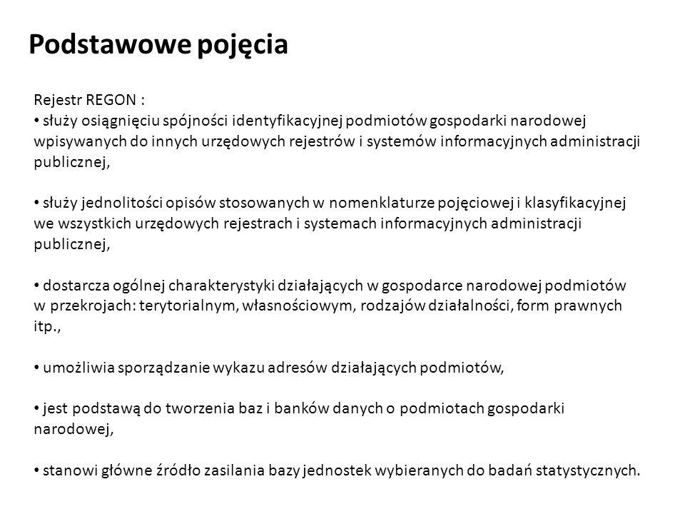 Podstawowe pojęcia Rejestr REGON : służy osiągnięciu spójności identyfikacyjnej podmiotów gospodarki narodowej wpisywanych do innych urzędowych rejest