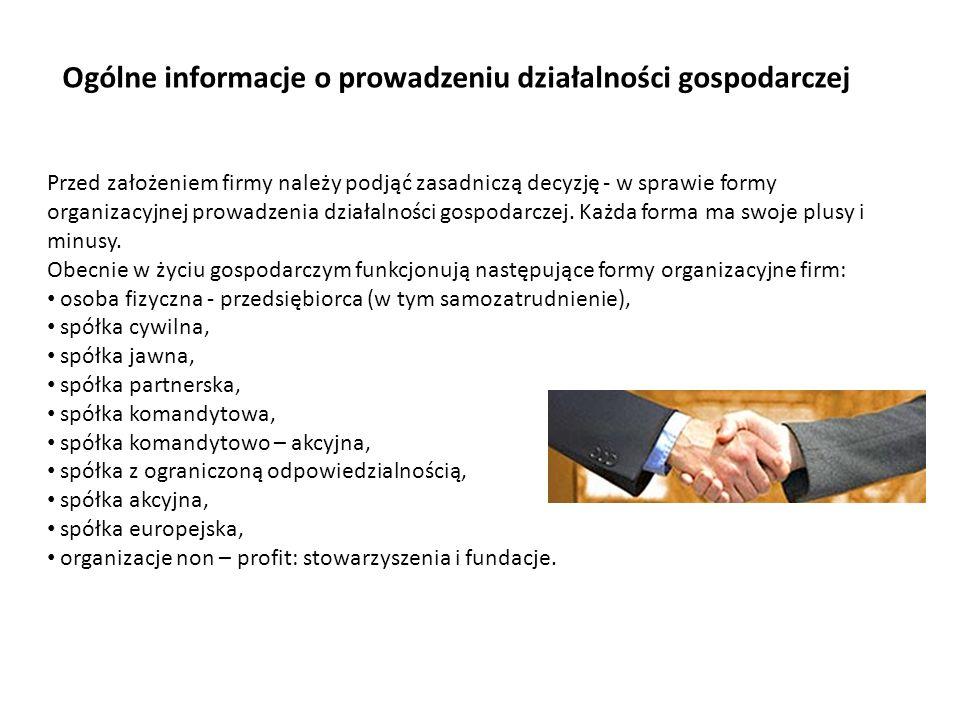 Przed założeniem firmy należy podjąć zasadniczą decyzję - w sprawie formy organizacyjnej prowadzenia działalności gospodarczej. Każda forma ma swoje p