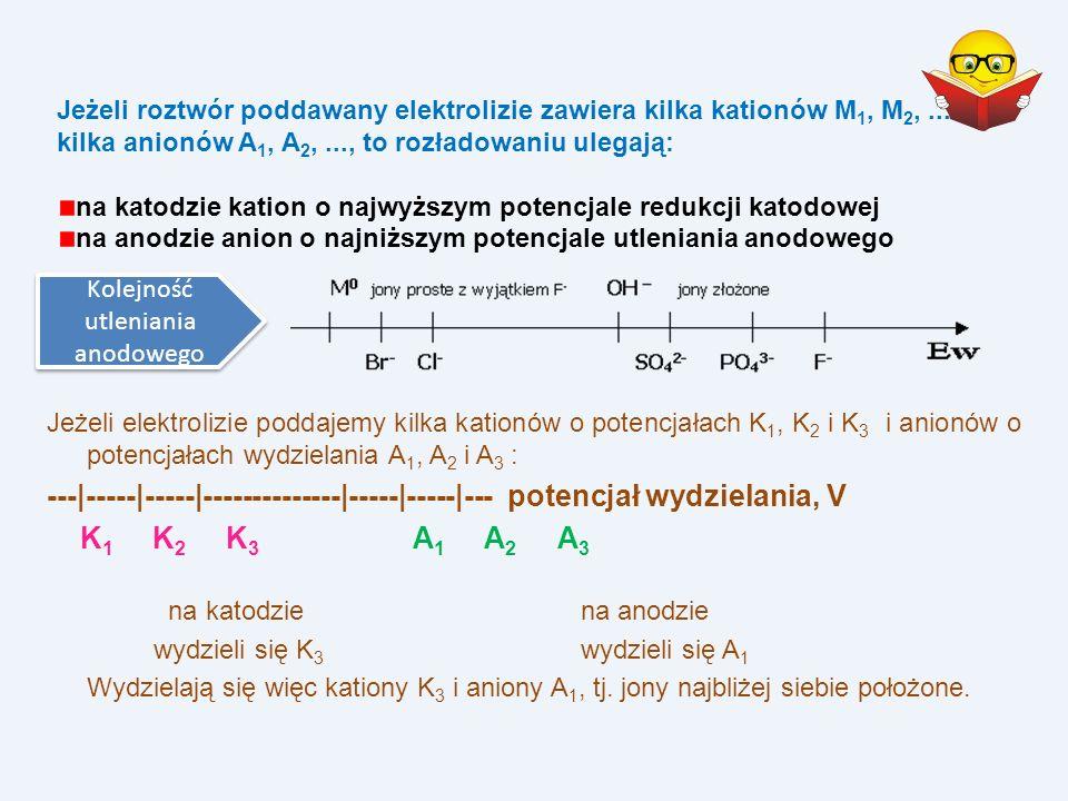 Jeżeli elektrolizie poddajemy kilka kationów o potencjałach K 1, K 2 i K 3 i anionów o potencjałach wydzielania A 1, A 2 i A 3 : ---|-----|-----|-----