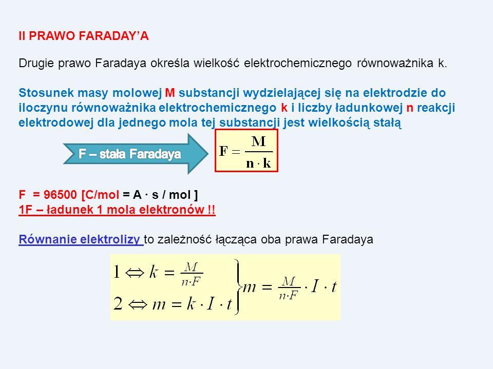 II PRAWO FARADAYA Drugie prawo Faradaya określa wielkość elektrochemicznego równoważnika k. Stosunek masy molowej M substancji wydzielającej się na el