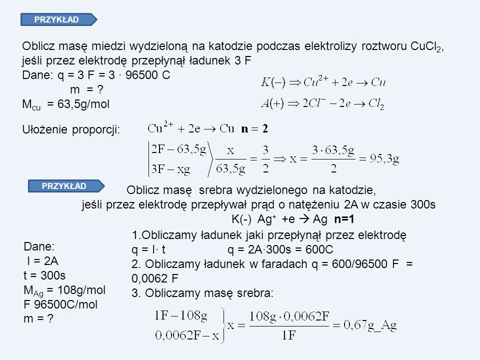 PRZYKŁAD Oblicz masę miedzi wydzieloną na katodzie podczas elektrolizy roztworu CuCl 2, jeśli przez elektrodę przepłynął ładunek 3 F Dane: q = 3 F = 3