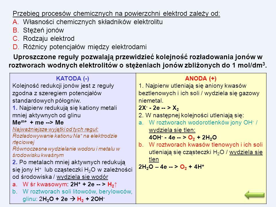 Przebieg procesów chemicznych na powierzchni elektrod zależy od: A.Własności chemicznych składników elektrolitu B.Stężeń jonów C.Rodzaju elektrod D.Ró