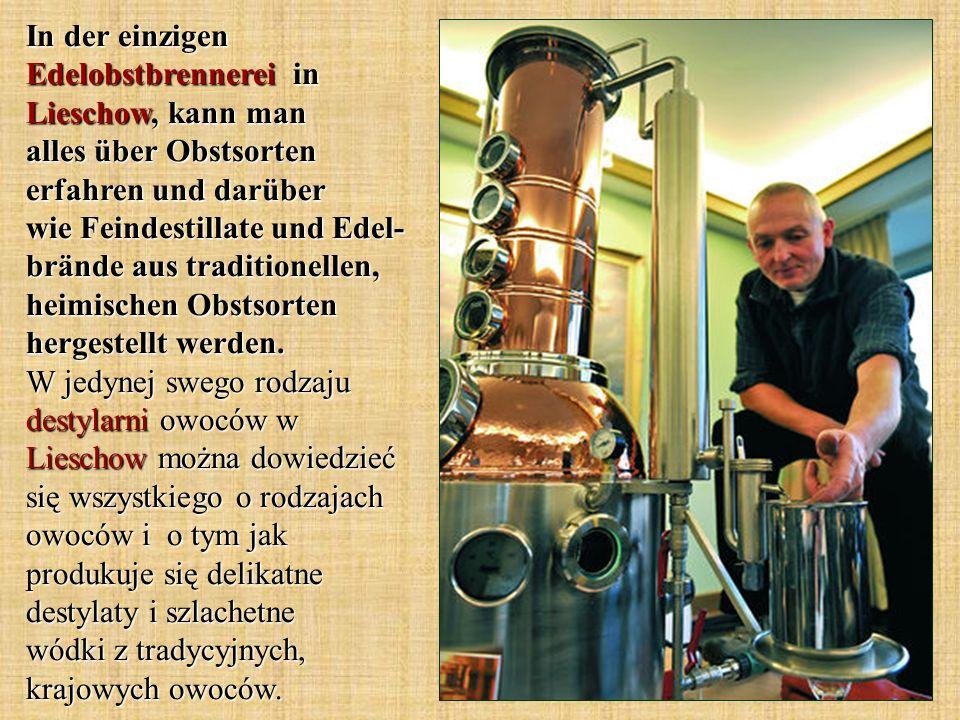 In der einzigen Edelobstbrennerei in Lieschow, kann man alles über Obstsorten erfahren und darüber wie Feindestillate und Edel- brände aus traditionel