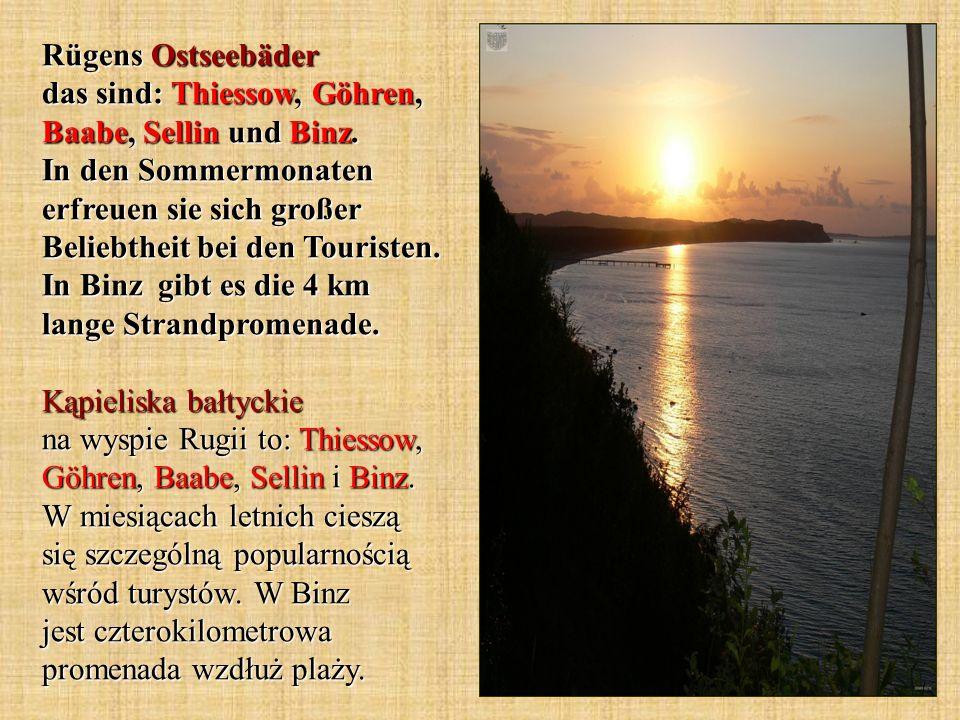 Rügens Ostseebäder das sind: Thiessow, Göhren, Baabe, Sellin und Binz. In den Sommermonaten erfreuen sie sich großer Beliebtheit bei den Touristen. In