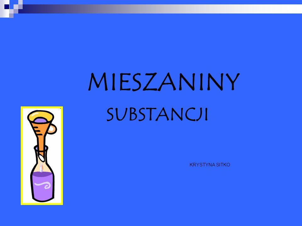 Mieszaniny powstają przez zmieszanie ze sobą co najmniej dwóch substancji.