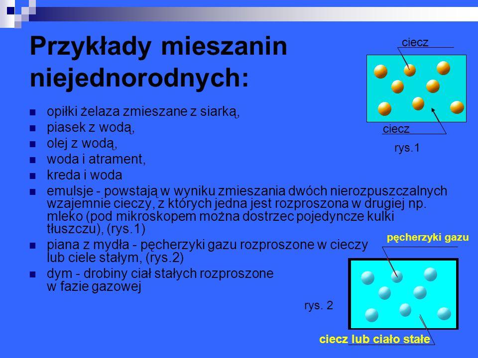 Doświadczenie I - Sporządzanie mieszanin i rozdzielanie ich na składniki.