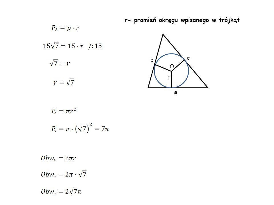 r a c b O r- promień okręgu wpisanego w trójkąt