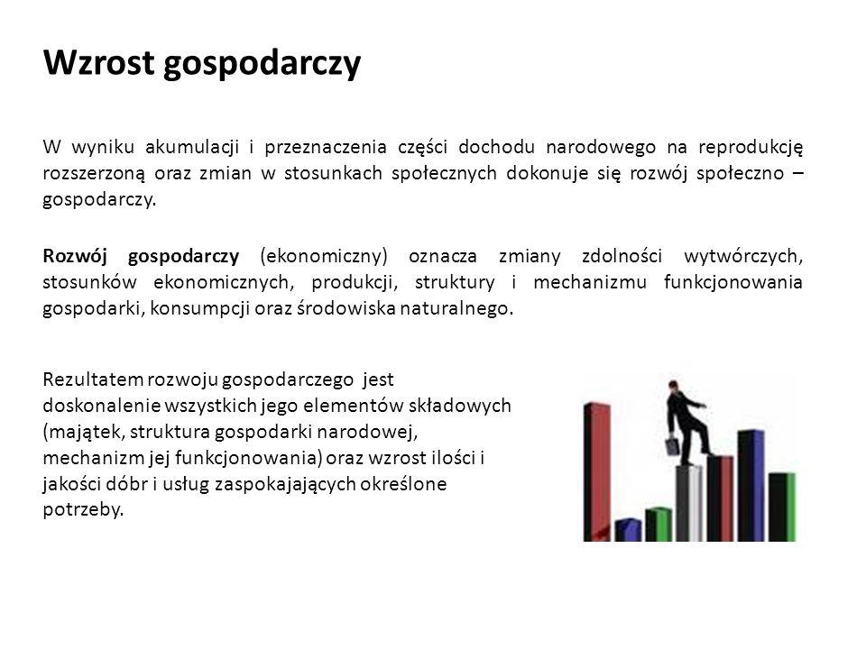 Mierniki wzrostu gospodarczego W procesie mierzenia rozwoju społeczno – gospodarczego wykorzystuje się różnorodne mierniki.