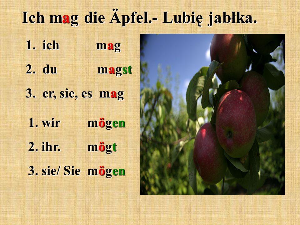 1. ich mag 2. du magst 3. er, sie, es mag 1. wir mögen 2. ihr. mögt 3. sie/ Sie mögen Ich mag die Äpfel.- Lubię jabłka.