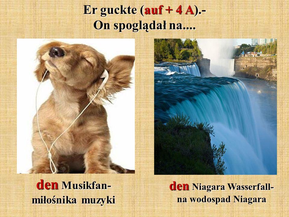 Er guckte (auf + 4 A).- On spoglądał na.... den Musikfan- miłośnika muzyki den Niagara Wasserfall- na wodospad Niagara