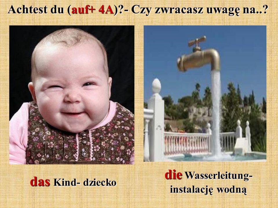 Achtest du (auf+ 4A)?- Czy zwracasz uwagę na..? das Kind- dziecko die Wasserleitung- instalację wodną