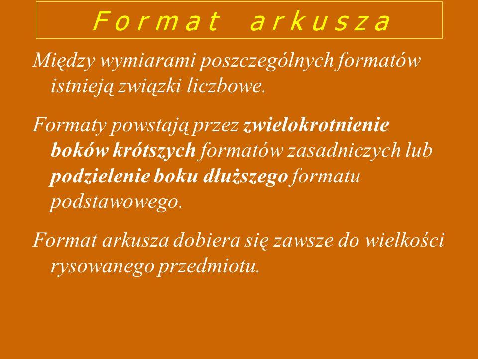 Oznaczenie formatów zasadniczych Wymiary formatów w mm A 0 841 x 1189 A 1 594 x 841 A 2 420 x 594 A 3 297 x 420 A 4 210 x 297 WYMIARY FORMATÓW RYSUNKOWYCH