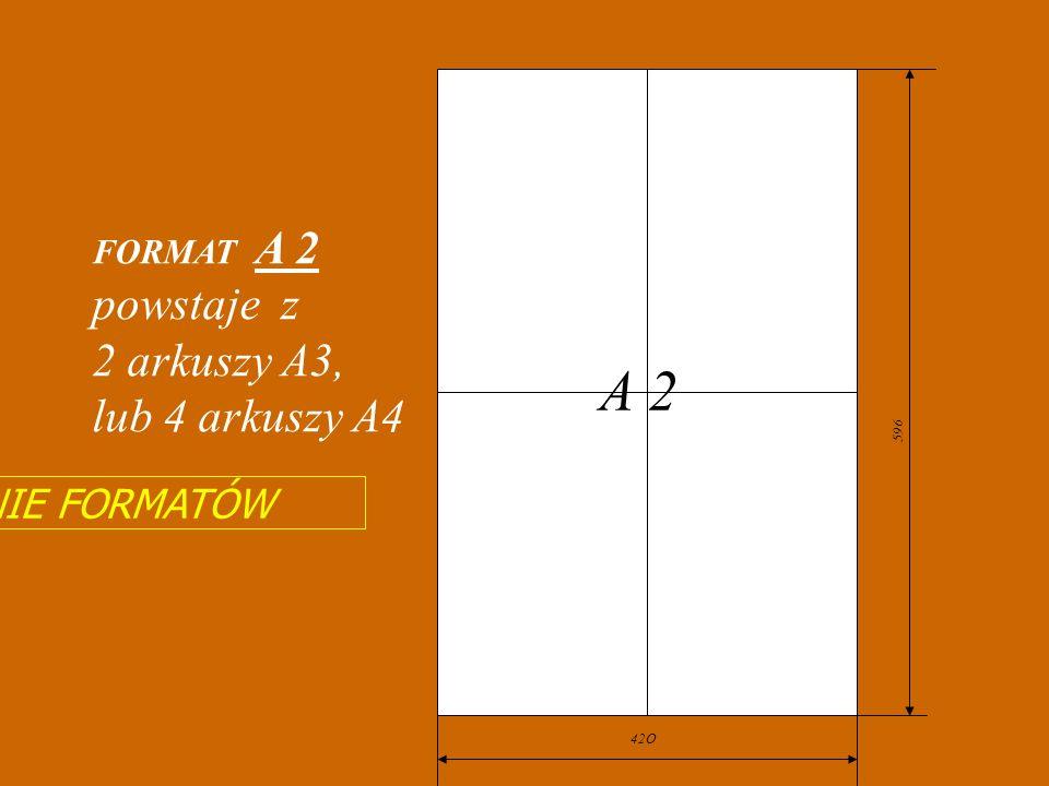 297 594 Tworzenie z formatu A 1 formatów mniejszych od niego A 2 A 3 A 4 A5 A 6 841 210 A 1