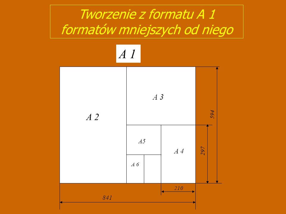 Związki między formatami rysunkowymi A 4 A 3 A 2 A 1 210420 841 594 297 1189 A 0