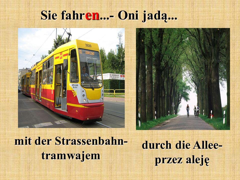 Sie fahr en...- Oni jadą... mit der Strassenbahn- tramwajem durch die Allee- przez aleję