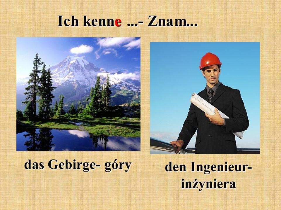 Ich kenne...- Znam... das Gebirge- góry den Ingenieur- inżyniera