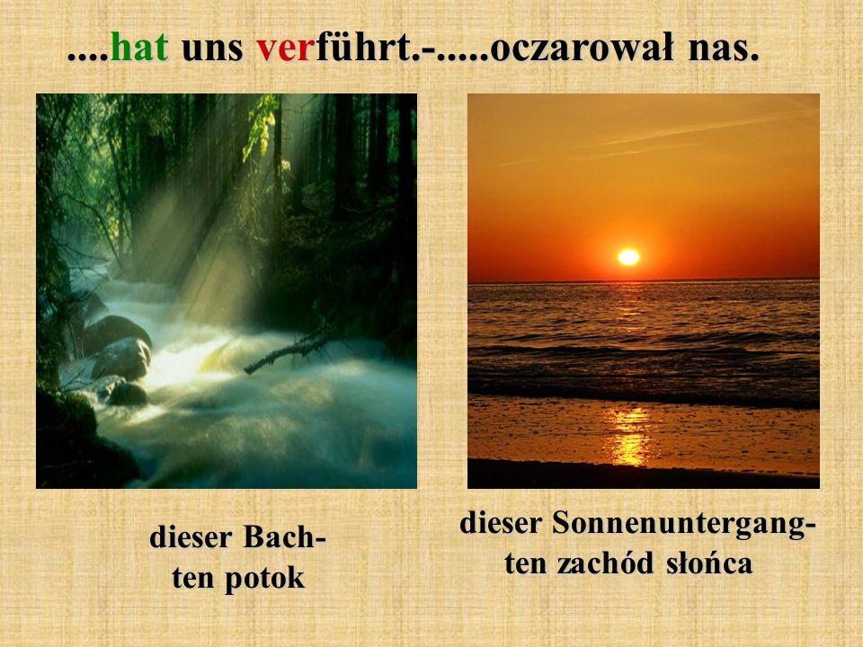 dieser Bach- ten potok....hat uns verführt.-.....oczarował nas. dieser Sonnenuntergang- ten zachód słońca dieser Sonnenuntergang- ten zachód słońca