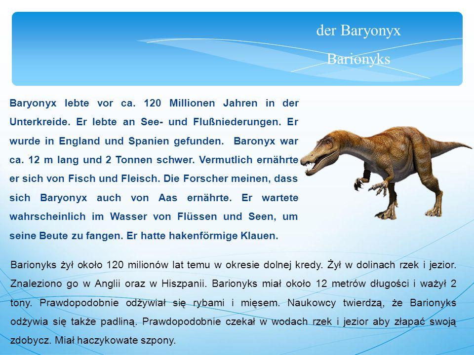 der Baryonyx Barionyks Baryonyx lebte vor ca. 120 Millionen Jahren in der Unterkreide. Er lebte an See- und Flußniederungen. Er wurde in England und S
