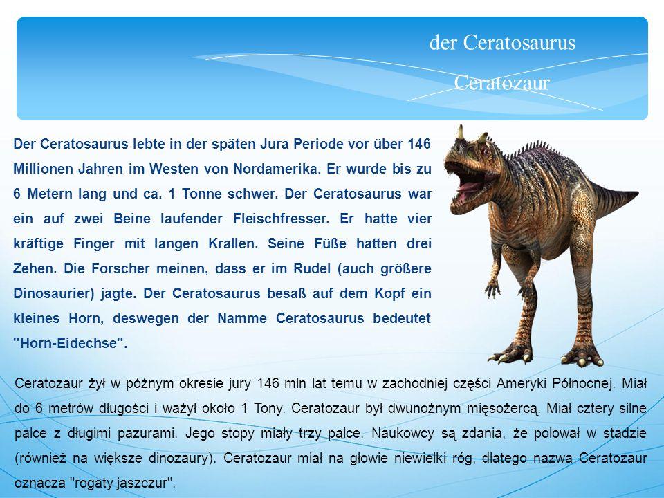 der Ceratosaurus Ceratozaur Der Ceratosaurus lebte in der späten Jura Periode vor über 146 Millionen Jahren im Westen von Nordamerika.