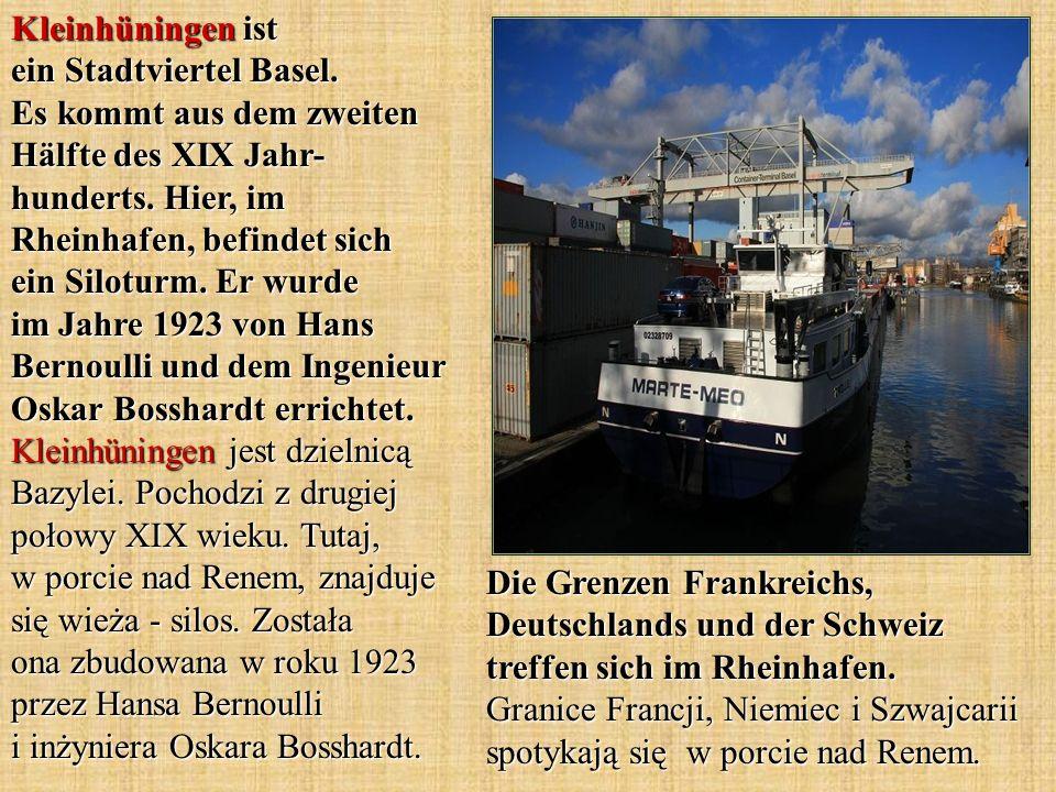 Die Grenzen Frankreichs, Deutschlands und der Schweiz treffen sich im Rheinhafen.