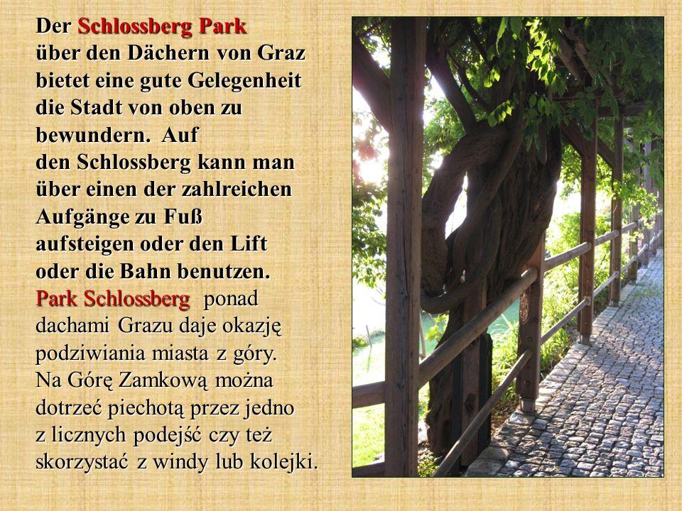 Der Schlossberg Park über den Dächern von Graz bietet eine gute Gelegenheit die Stadt von oben zu bewundern.
