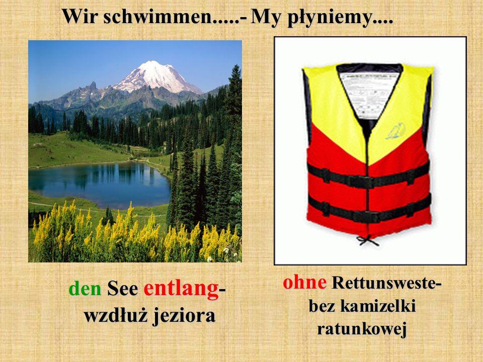 Wir schwimmen.....- My płyniemy.... den See entlang - wzdłuż jeziora ohne Rettunsweste- bez kamizelki ratunkowej