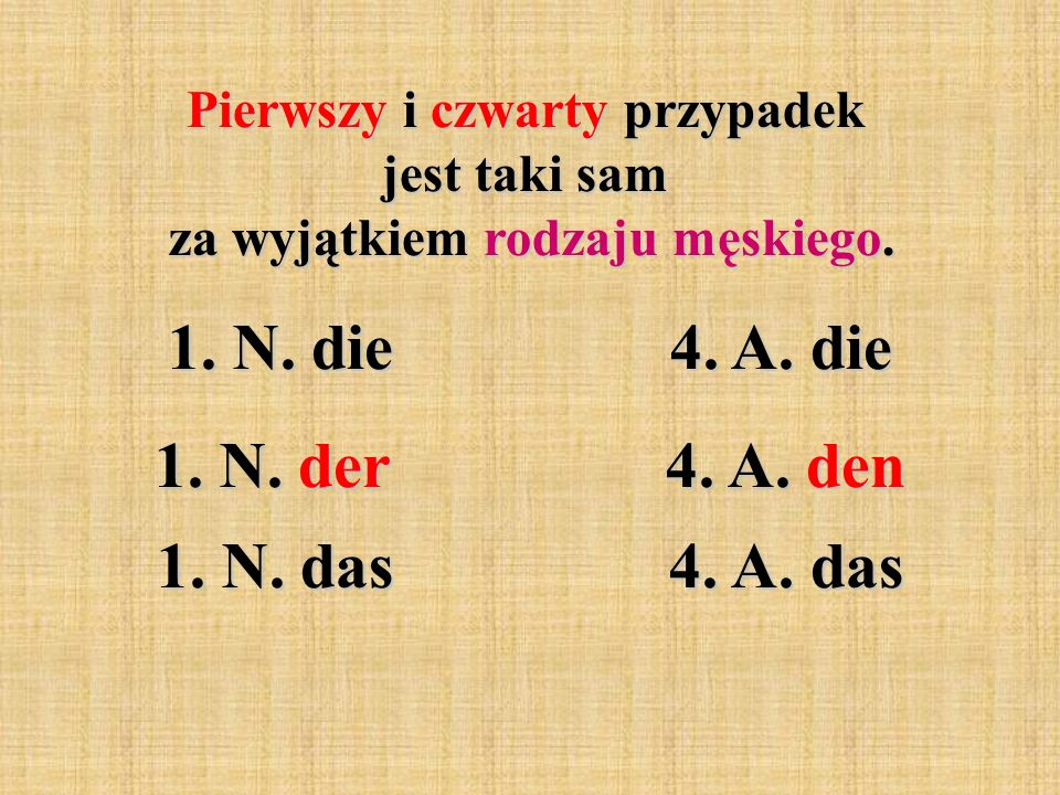 Pierwszy i czwarty przypadek jest taki sam za wyjątkiem rodzaju męskiego. 1. N. die 4. A. die 1. N. der 4. A. den 1. N. das 4. A. das