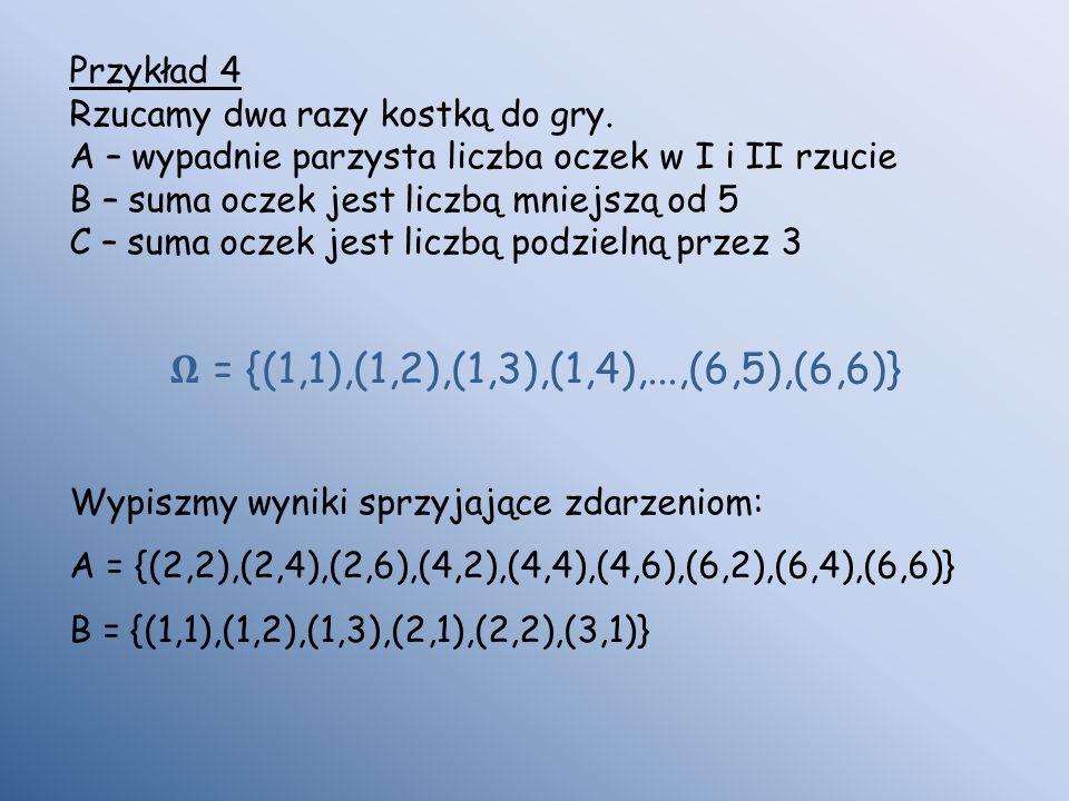 Przykład 4 Rzucamy dwa razy kostką do gry. A – wypadnie parzysta liczba oczek w I i II rzucie B – suma oczek jest liczbą mniejszą od 5 C – suma oczek