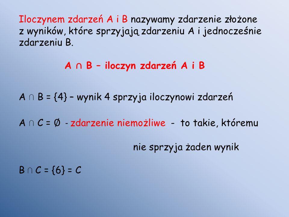 Iloczynem zdarzeń A i B nazywamy zdarzenie złożone z wyników, które sprzyjają zdarzeniu A i jednocześnie zdarzeniu B. A B – iloczyn zdarzeń A i B A B