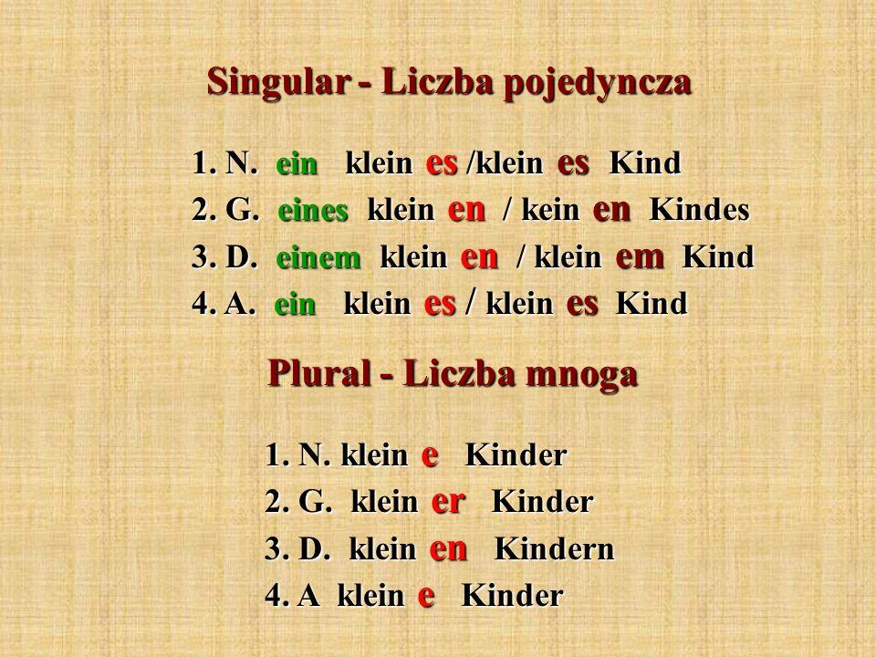Singular - Liczba pojedyncza 1. N. ein klein es /klein es Kind 2. G. eines klein en / kein en Kindes 3. D. einem klein en / klein em Kind 4. A. ein kl