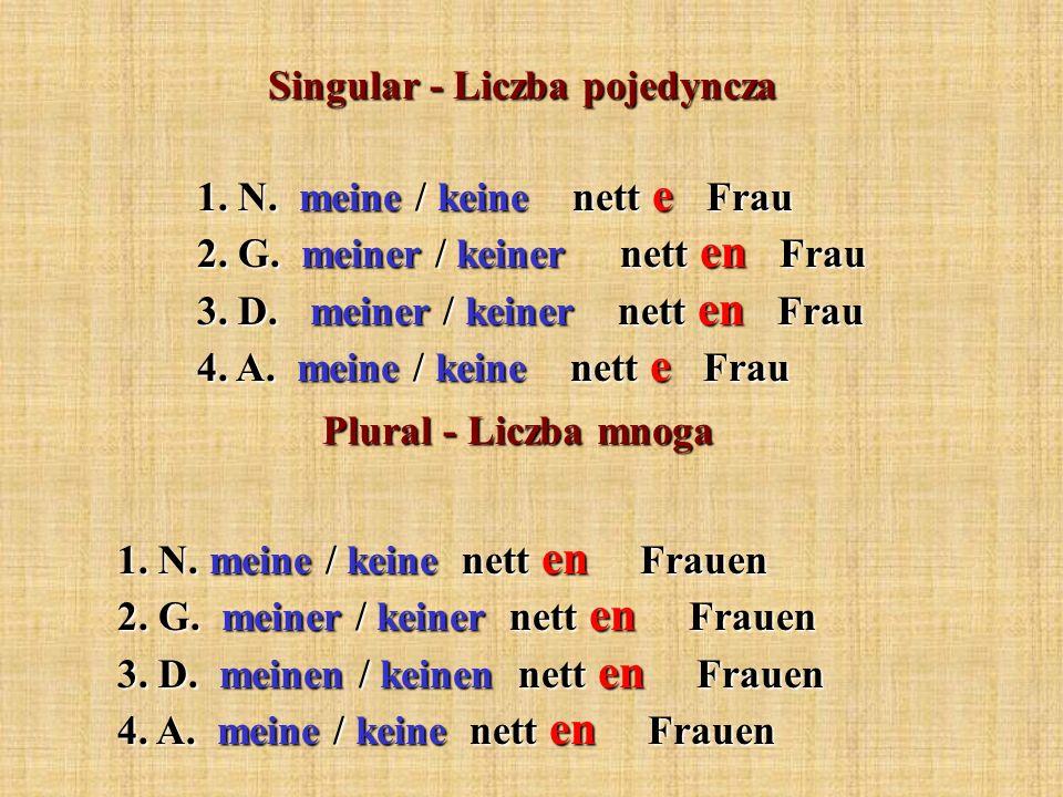 Singular - Liczba pojedyncza Plural - Liczba mnoga 1. N. meine / keine nett e Frau 2. G. meiner / keiner nett en Frau 3. D. meiner / keiner nett en Fr