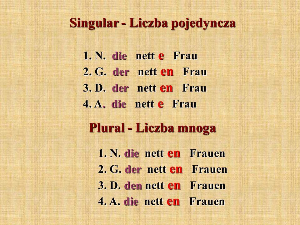Singular - Liczba pojedyncza 1. N. die nett e Frau 2. G. der nett en Frau 3. D. der nett en Frau 4. A. die nett e Frau Plural - Liczba mnoga 1. N. die