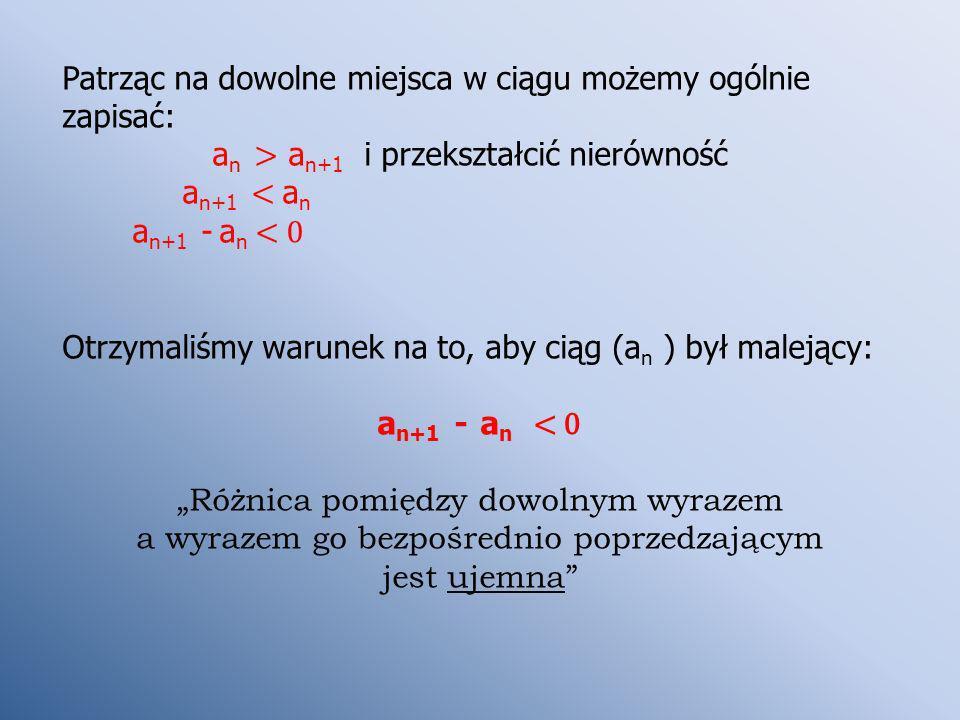 Patrząc na dowolne miejsca w ciągu możemy ogólnie zapisać: a n > a n+1 i przekształcić nierówność a n+1 < a n a n+1 - a n < 0 Otrzymaliśmy warunek na