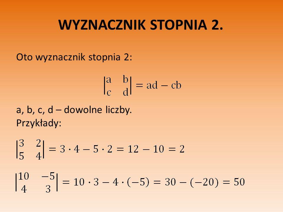 WYZNACZNIK STOPNIA 2. Oto wyznacznik stopnia 2: a, b, c, d – dowolne liczby. Przykłady: